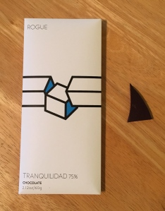 This Rogue Chocolatier 75% bar is made only with cacao and cane sugar, making it the darkest chocolate of the group. I saved it for tasting last (with Donal, so to speak). Photo by the author.