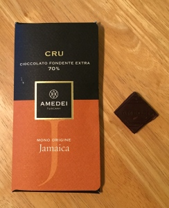 This Amedei Jamaica Cru 70% bar is made from cocoa mass, cane sugar, cocoa butter, and vanilla, according to the label. Donal and I (really, I) tasted this bar third, after the Trader Joe's milk and Valrhona 56% dark bars. Photo by the author.