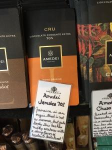 Note the handwritten label identifying the chocolate's origins, cacao percentage, and flavor notes.