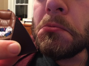 Donal did not appreciate the complex flavors in this piece of dark chocolate from Rogue chocolatier.