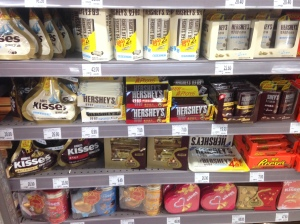 Chocolate on shelves in FamilyMart