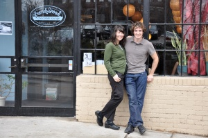 Dan and Jael Rattigan in front of the restaurant French Broad Chocolate.
