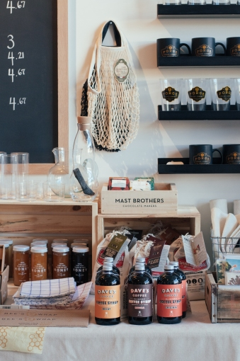 A rather stereotypically hipster arrangement of goods including Mast Brothers chocolate at Boston General Store's pop-up shop in Somerville, MA.