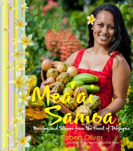 Local Samoan woman holding Cacao pods among other local produce. (Samoa- Upolu Island)
