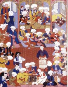 A manuscript showing Muslims in a coffeehouse. Photo Courtesy of Muslim Heritage.