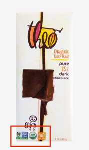 Certificatory images prominently displayed on Theo chocolate bars.