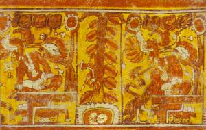 Maya glyphs depicting cacao tree (center of photo)
