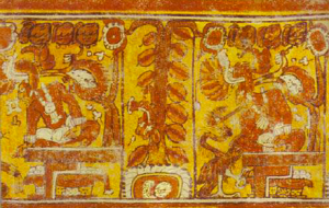 Maya glyphs depicting cacao tree (center of photo)