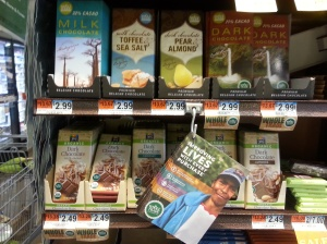 Display of Whole Foods chocolate with