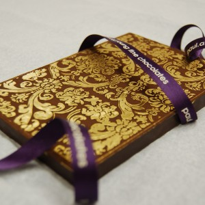 Gold leaf on chocolate bar