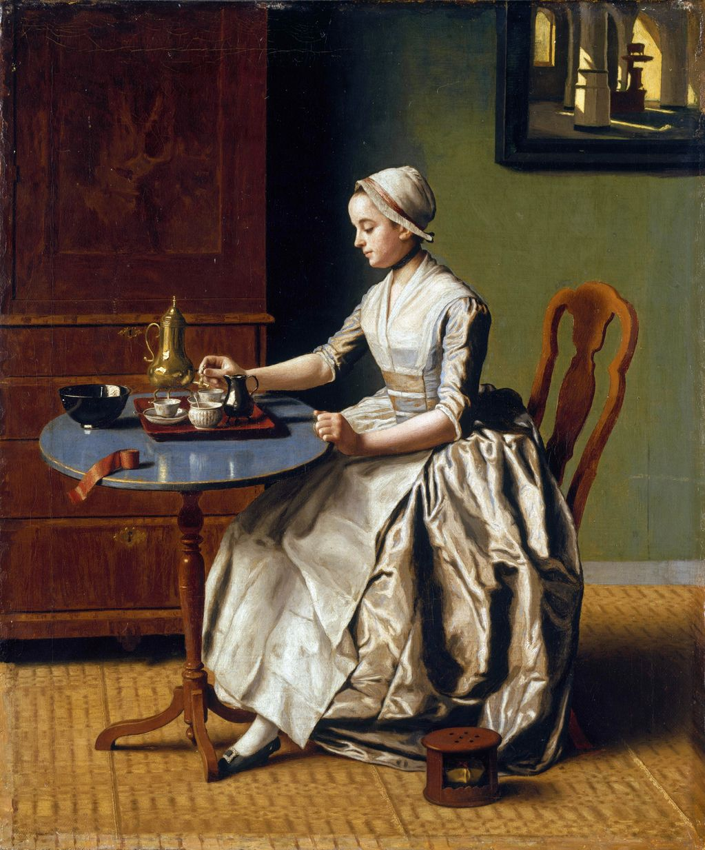 A Lady Pouring Chocolate by Jean-Étienne Liotard (1744)