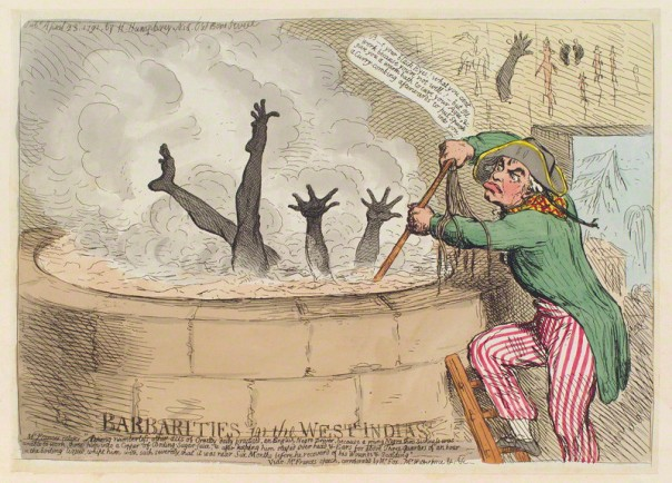 NPG D12417; 'Barbarities in the West Indies' by James Gillray, published by  Hannah Humphrey