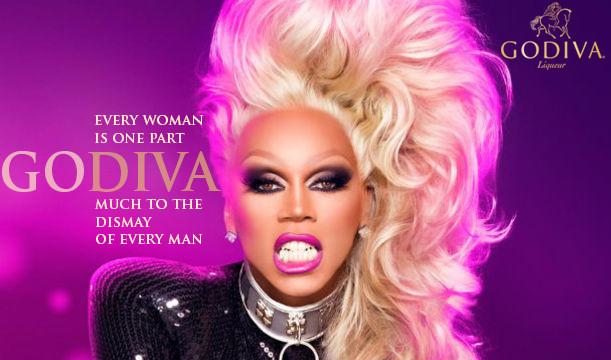 RuPaul in Godiva's Diva ad campaign