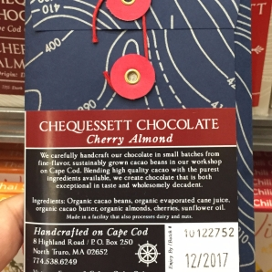 Back of Chequessett Chocolate bar in Cardullo's