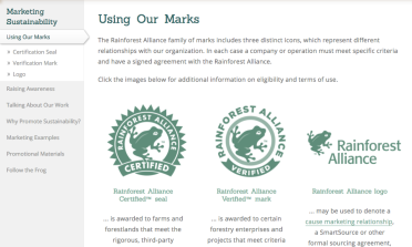 Rain Forrest Alliance logos from http://www.rainforest-alliance.org/business/marketing/marks