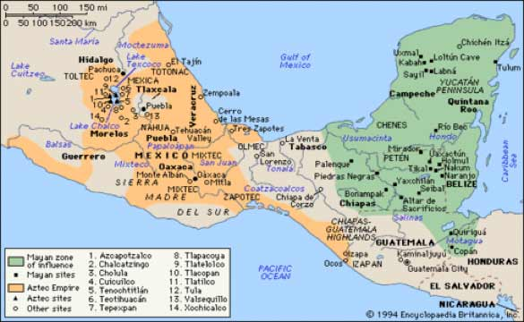Map of Mesoamerica highlighting Mayan and Aztec empires