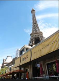 "HEXX Chocolate - At the Paris Hotel and Casino in the shadow of a replica of the Eiffel Tower (""HEXX Restaurant Eiffel Tower"")."