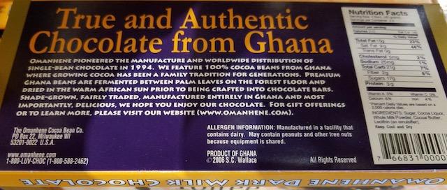 Omanhene chocolate back