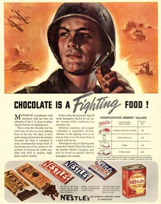 Nestle's, Propaganda Chocolate Sweets WWII Chocolate Is a Fighting Food, USA (1940).